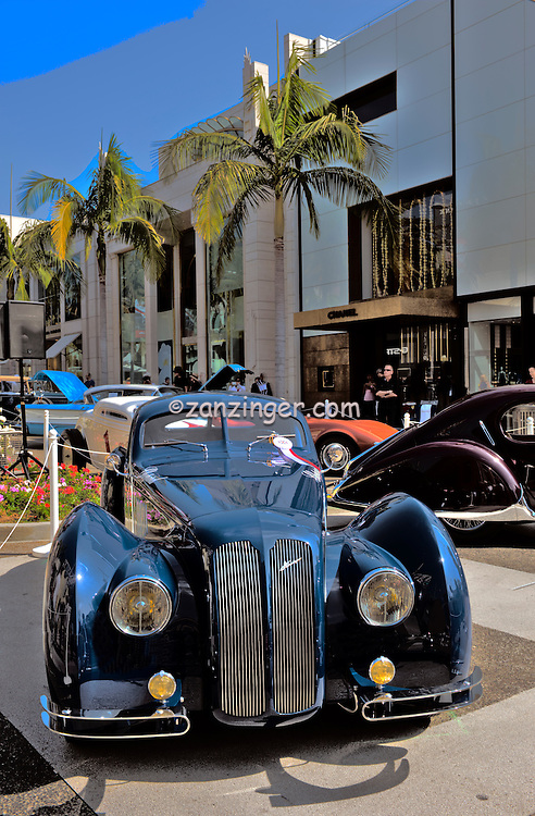 vintage,  racing cars, Rodeo Drive, Concourse D'elegance,  Beverly Hills, CA, , Vertical image