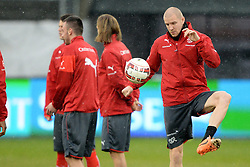 04.03.2014, AFG Arena, St. Gallen, SUI, Training der Schweizer Nationalmannschaft, vor dem Testspiel gegen Kroatien, im Bild Philippe Senderos (SUI) // during a practice session of swiss national football team prior to the international frindley against Croatia at the AFG Arena in St. Gallen, Switzerland on 2014/03/04. EXPA Pictures © 2014, PhotoCredit: EXPA/ Freshfocus/ Andy Mueller<br /> <br /> *****ATTENTION - for AUT, SLO, CRO, SRB, BIH, MAZ only*****