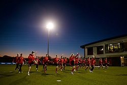 CARDIFF, WALES - Wednesday, January 16, 2019: Wales players during a training session at Dragon Park ahead of the International Friendly game against Italy. (Pic by David Rawcliffe/Propaganda)