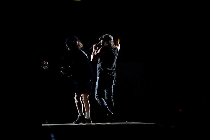 Montreal August 8, 2009 - Rockers Angus Young (L) and Brian Johnson of AC/DC perform at Montreal's Olympic Stadium. (THE GAZETTE/Tim Snow)