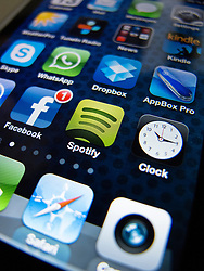 detail of iPhone 4G screen showing app icons