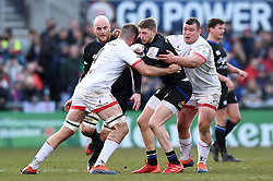 Ruaridh McConnochie of Bath Rugby takes on the Ulster defence - Mandatory byline: Patrick Khachfe/JMP - 07966 386802 - 18/01/2020 - RUGBY UNION - Kingspan Stadium - Belfast, Northern Ireland - Ulster Rugby v Bath Rugby - Heineken Champions Cup