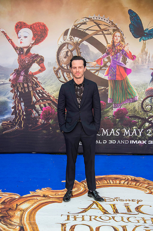 Andrew Scott - Alice Through the Looking Glass premiere - a Walt Disney American fantasy adventure film directed by James Bobin, written by Linda Woolverton and produced by Tim Burton. It is based on Through the Looking-Glass by Lewis Carroll and is the sequel to the 2010 film Alice in Wonderland. The film stars Johnny Depp, Anne Hathaway, Mia Wasikowska, Rhys Ifans, Helena Bonham Carter, and Sacha Baron Cohen and features the voices of Alan Rickman, Stephen Fry, Michael Sheen, and Timothy Spall.