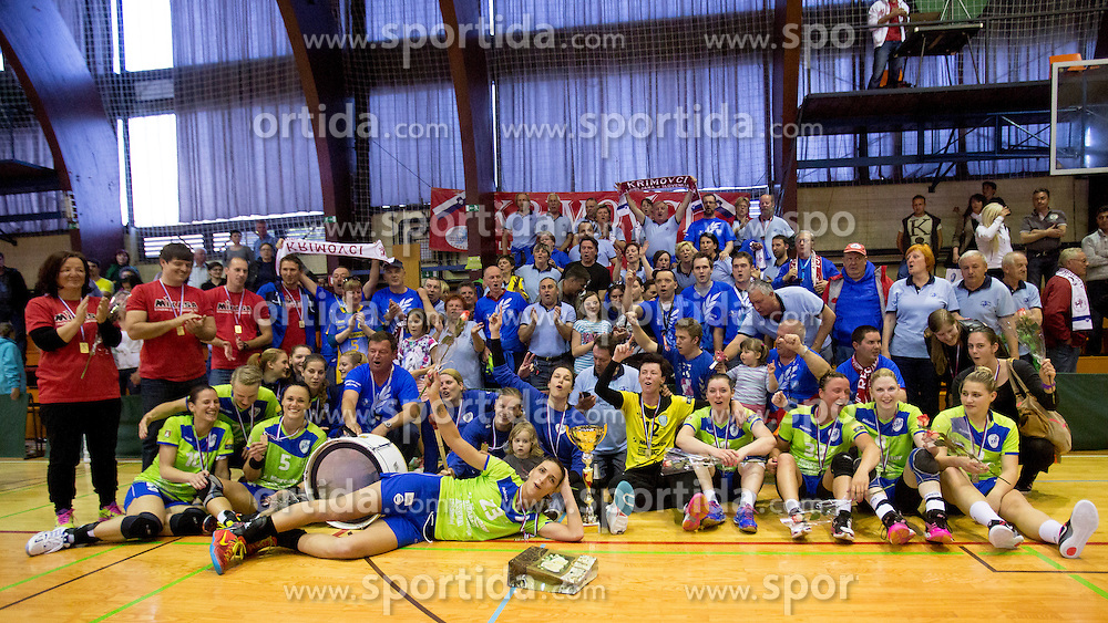 Players of RK Krim Mercator celebrating after handball game between RK Krim Mercator and RK GEN-I Zagorje in second final game of Slovenian National Championship 2013/2014, on May 17, 2014 in Arena Krim Galjevica, Ljubljana, Slovenia. Photo by Urban Urbanc / Sportida