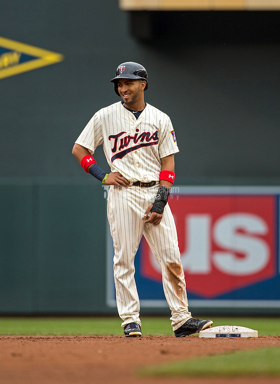 MINNEAPOLIS, MN- MAY 16: Eddie Rosario #20 of the Minnesota Twins smiles against the Tampa Bay Rays on May 16, 2015 at Target Field in Minneapolis, Minnesota. The Twins defeated the Rays 6-4. (Photo by Brace Hemmelgarn) *** Local Caption *** Eddie Rosario