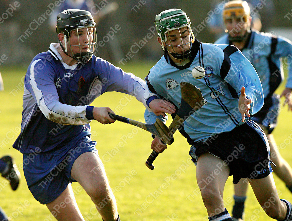 St. Caimins Kevin Lynch takes on Nenagh's Shane Maher during their Harty Cup clash in Scariff on Wednesday.<br />