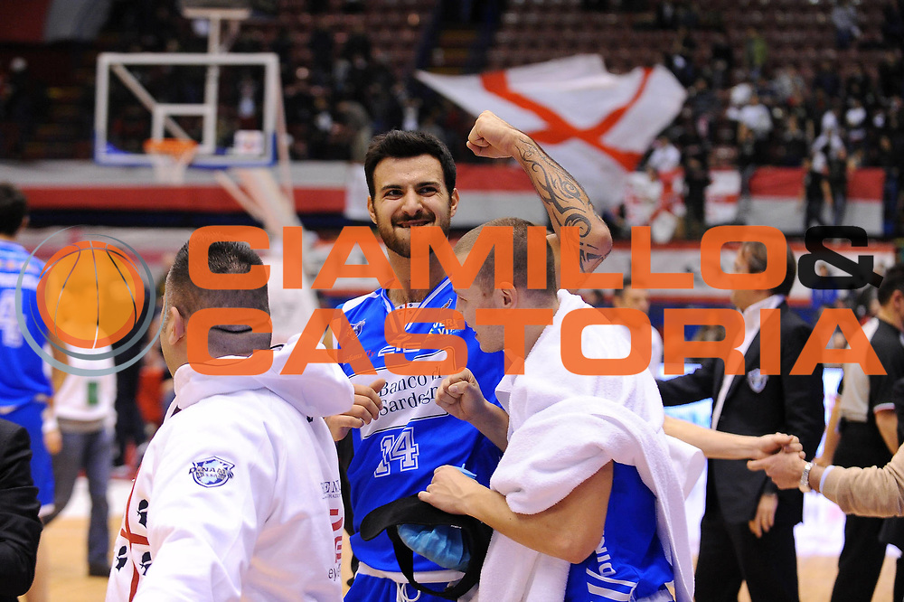 DESCRIZIONE : Milano Lega A 2011-12 EA7 Emporio Armani Milano Banco di Sardegna Sassari<br /> GIOCATORE : Brian Sacchetti<br /> CATEGORIA : Ritratto Esultanza<br /> SQUADRA : Banco di Sardegna Sassari<br /> EVENTO : Campionato Lega A 2011-2012<br /> GARA : EA7 Emporio Armani Milano Banco di Sardegna Sassari<br /> DATA : 12/02/2012<br /> SPORT : Pallacanestro<br /> AUTORE : Agenzia Ciamillo-Castoria/A.Dealberto<br /> Galleria : Lega Basket A 2011-2012<br /> Fotonotizia : Milano Lega A 2011-12 EA7 Emporio Armani Milano Banco di Sardegna Sassari<br /> Predefinita :