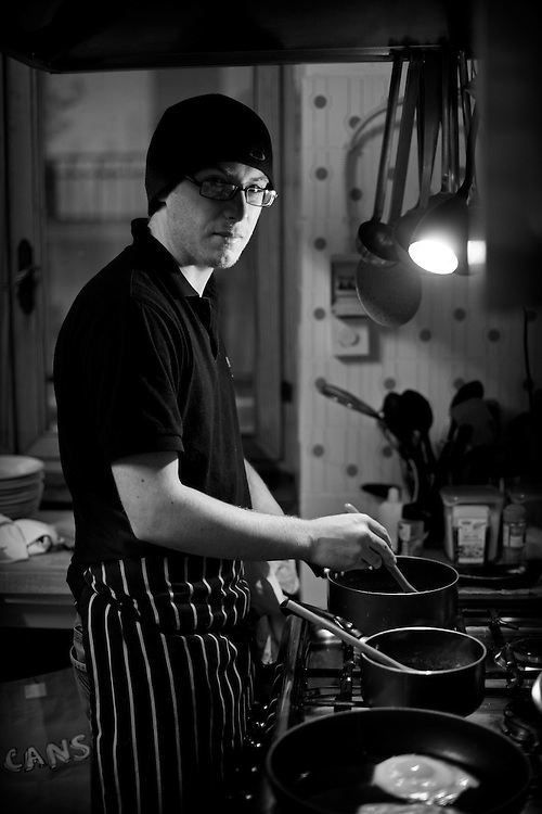 Tim McColl. Chalet Chef - Bardonecchia Italy. 7am Saturday 28th January 2012<br />   <br /> A Life Less Ordinary Series:<br /> Images and stories about those people outside of the mainstream. These are not the famous or the often photographed poor and disadvantaged but the people in the middle who choose to do the jobs many of us dream of doing....