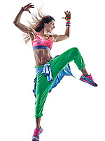 one caucasian woman zumba dancers dancing fitness exercising excercises in studio isolated on white background