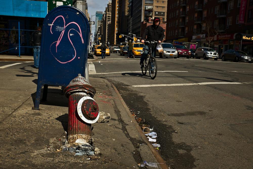 Fallen fire hydrant, New York, NY, US