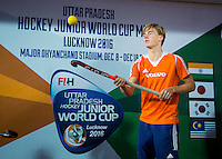 LUCKNOW (India) -  Jorrit Croon (NED)  voor de oefenwedstrijd tegen Korea voor de Junior  World Cup hockey men . COPYRIGHT KOEN SUYK