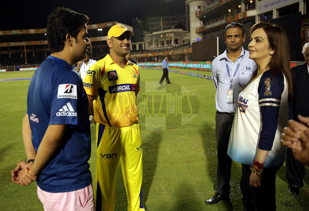 Akash Ambani son of Nita Ambani ( L TO R) MS Dhoni captain of The Chennai Superkings, IPL COO Sundar Raman and Nita Ambani owner of Mumbai Indians  after the eliminator match of the Pepsi Indian Premier League Season 2014 between the Chennai Superkings and the Mumbai Indians held at the Brabourne Stadium, Mumbai, India on the 28th May  2014<br /> <br /> Photo by Sandeep Shetty / IPL / SPORTZPICS<br /> <br /> <br /> <br /> Image use subject to terms and conditions which can be found here:  http://sportzpics.photoshelter.com/gallery/Pepsi-IPL-Image-terms-and-conditions/G00004VW1IVJ.gB0/C0000TScjhBM6ikg