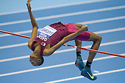 Mutaz Essa Barshim of Qatar competes in men's high jump qualification during the IAAF Athletics World Indoor Championships 2014 at Ergo Arena Hall in Sopot, Poland.<br /> <br /> Poland, Sopot, March 8, 2014.<br /> <br /> Picture also available in RAW (NEF) or TIFF format on special request.<br /> <br /> For editorial use only. Any commercial or promotional use requires permission.<br /> <br /> Mandatory credit:<br /> Photo by &copy; Adam Nurkiewicz / Mediasport