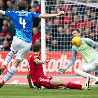 St Johnstone v Aberdeen…15.09.18…   McDiarmid Park     SPFL<br />Joe Lewis saves Blair Alston's shot<br />Picture by Graeme Hart. <br />Copyright Perthshire Picture Agency<br />Tel: 01738 623350  Mobile: 07990 594431