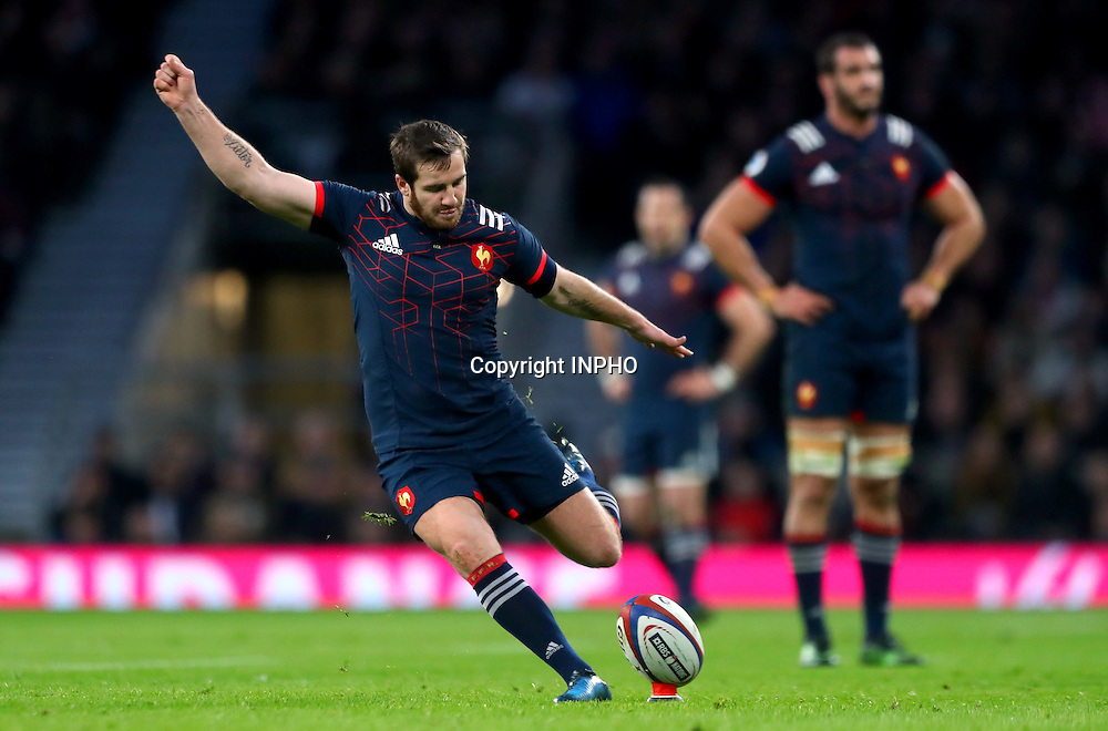 RBS 6 Nations Championship Round 1, Twickenham, London, England 4/2/2017<br /> England vs France<br /> France's Camille Lopez kicks a penalty<br /> Mandatory Credit &copy;INPHO/James Crombie