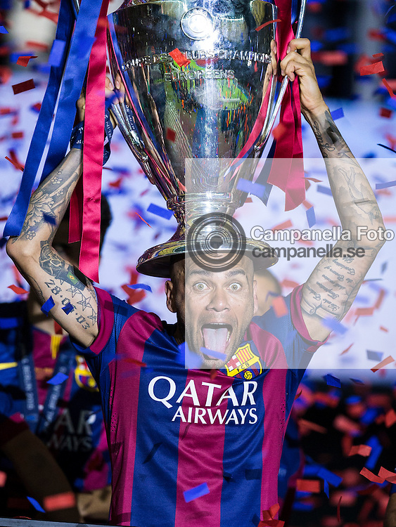 BERLIN, GERMANY - June 6th 2015:<br /> <br /> Barcelona 22 Daniel Alves celebrates winning the UEFA Champions League Final between Juventus FC and FC Barcelona at Olympiastadion in Berlin, Germany on June 6th 2015. (Photo: Michael Campanella)