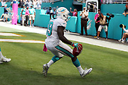 Miami Dolphins rookie wide receiver Jakeem Grant (19) starts to celebrate as he scores a touchdown on a 74 yard punt return that ties the second quarter score at 7-7 during the 2016 NFL week 5 regular season football game against the Tennessee Titans on Sunday, Oct. 9, 2016 in Miami Gardens, Fla. The Titans won the game 30-17. (©Paul Anthony Spinelli)