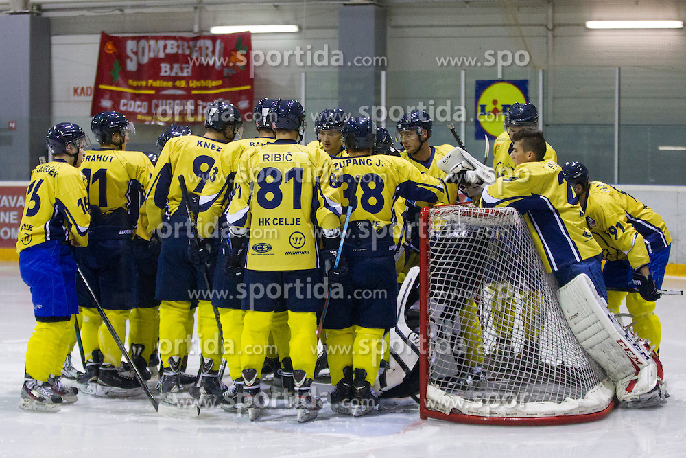 Players of HK ECE Celje before Inter National League ice hockey match between HK Playboy Slavija and HK ECE Celje, on September 30, 2015, in Ledena Dvorana Zalog, Ljubljana, Slovenia. Photo by Urban Urbanc / Sportida