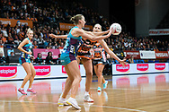 SYDNEY, NSW - JUNE 22: Emily Mannix of the Vixens passes the ball during the round 9 Super Netball match between the Giants and the Vixens at Quaycentre on June 22, 2019 in Sydney, Australia. (Photo by Speed Media/Icon Sportswire)