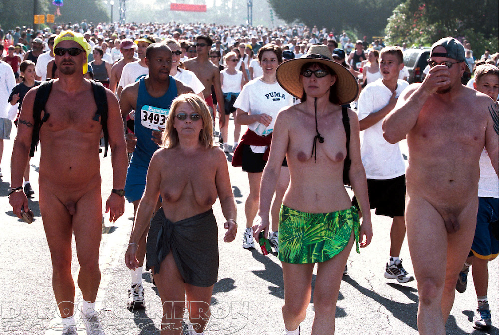 Nude walkers stroll through Golden Gate Park during the 90th running of the Bay to Breakers, Sunday, May 20, 2001 in San Francisco. (Photo by D. Ross Cameron)