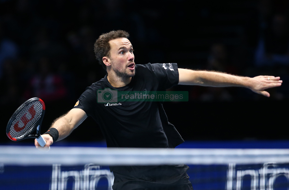 November 17, 2017 - London, England, United Kingdom - Bruno Soares (BRA) in action against Lukaez Kubut (POL) and Marcelo Melo (BRA)..during Day six of the Nitto ATP World Tour  Finals played at The O2 Arena, London on November 17 2017  (Credit Image: © Kieran Galvin/NurPhoto via ZUMA Press)