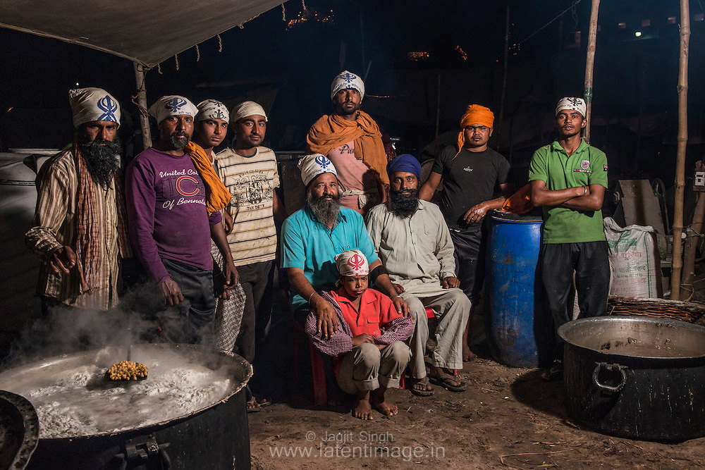 A group of local villager at langars (voluntary community kitchens).