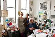 Cinematographer Albert Maysles and his daughters at his Harlem office .from left to right:.Sara Maysles.Rebekah Maysles .Albert Maysles ..Albert Maysles and his brother David Maysles became famous for their documentary films like Grey Gardens, Salesman, Meet Marlon Brando and Gimme Shelter, the landmark documentary about the Rolling Stones on their notorious 1969 US tour. The Maysles Brothers also collaborated with Christo and Jeanne-Claude on many of their films. Today Albert Maysles works on new projects with the help of his daughters Sara and Rebekah Maysles. The company, named Maysles Films, is located in Harlem...©Stefan Falke.