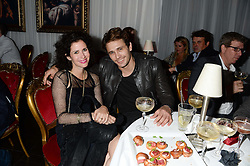 MOLLIE DENT-BROCKLEHURST and JAMES FRANCO at a private view of 'Psycho Nacirema' at Pace Gallery, 6-10 Lexington Street followed by a party at The Playboy Club, Old Park Lane, London on 5th June 2013.