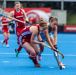 Sarah Jones of Great Britain Women is tackled by Lucina Von Der Heyde of Argentina Women during the 2019 Women's FIH Pro League match at Lee Valley Hockey Centre, Stratford<br /> Picture by Simon Parker/Focus Images Ltd <br /> 18/05/2019