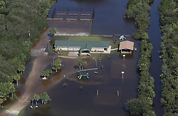 October 8, 2016 - Palm Coast, Florida, U.S.- A structure in Palm Coast, flooded due to Hurricane Matthew on Saturday. The Category 1 hurricane was dropping 8 to 20 inches of rain in the Tar Heel State and southeast Virginia. (Credit Image: © Red Huber/TNS via ZUMA Wire)