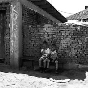 Enclave of roma gypsies in Kosovo, outskirts of Pristina. The roma are heavily discriminated with no access of health, housing,education and employment.