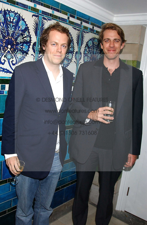 Left to right, TOM PARKER BOWLES and BEN ELLIOT at the No Campaign's Summer Party - a celebration of the 'Non' and 'Nee' votes in the Europen referendum in France and The Netherlands held at The Peacock House, 8 Addison Road, London W14 on 5th July 2005.<br /><br />NON EXCLUSIVE - WORLD RIGHTS