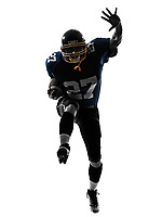 one  american football player man running in silhouette studio isolated on white background
