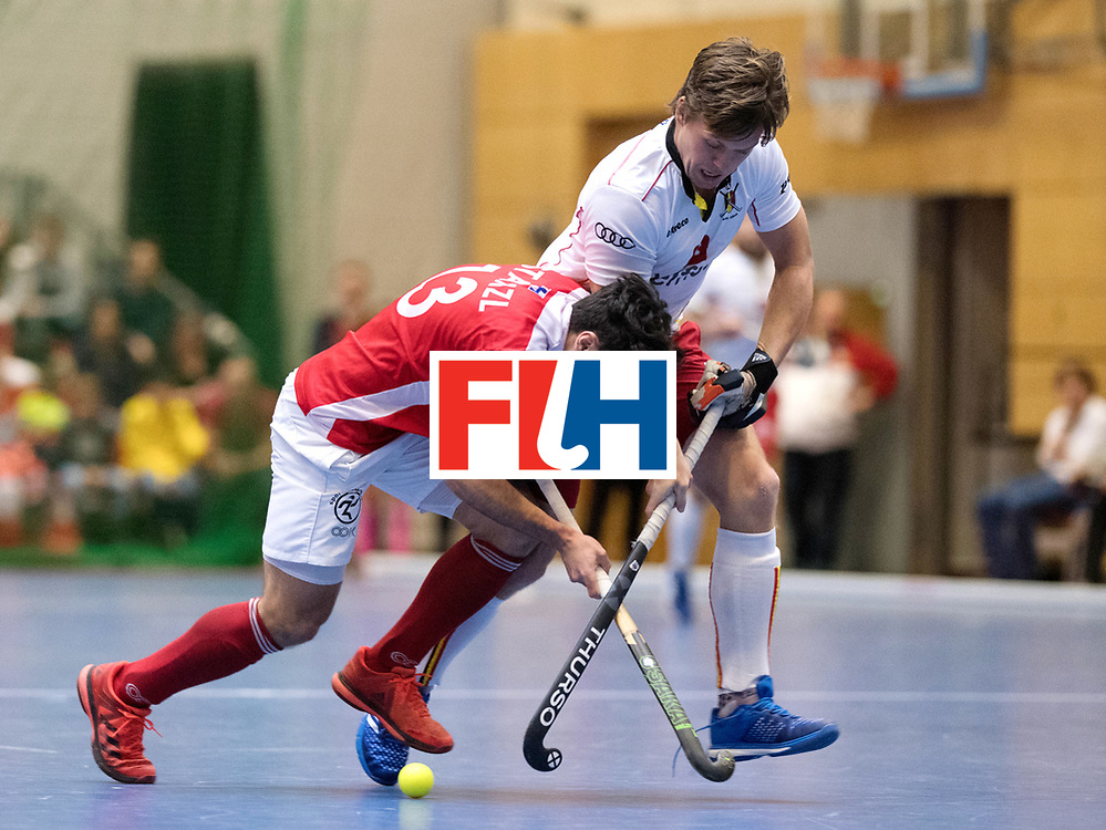 BERLIN - Indoor Hockey World Cup<br /> Austria - Belgium<br /> foto: STANZL Benjamin and Tom Boom<br /> WORLDSPORTPICS COPYRIGHT FRANK UIJLENBROEK