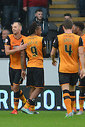 David Myler  celebrates scoring during the Sky Bet Championship match between Hull City and Birmingham City at the KC Stadium, Kingston upon Hull, England on 24 October 2015. Photo by Ian Lyall.