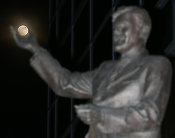 Jimmy Hill statue with full moon 'in is hand' before the game between Coventry City and Cambridge United