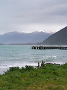 A view of Jackson Bay, New Zealand, looking to the north.