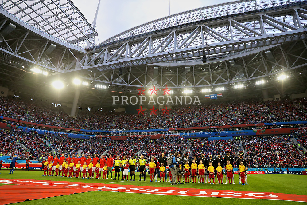SAINT PETERSBURG, RUSSIA - Tuesday, June 19, 2018: Russia and Egypt players line-up before the FIFA World Cup Russia 2018 Group A match between Russia and Egypt at the Saint Petersburg Stadium. (Pic by David Rawcliffe/Propaganda)