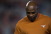 AUSTIN, TX - NOVEMBER 7:  Texas Longhorns head coach Charlie Strong looks on before kickoff against the Kansas Jayhawks on November 7, 2015 at Darrell K Royal-Texas Memorial Stadium in Austin, Texas.  (Photo by Cooper Neill/Getty Images) *** Local Caption *** Charlie Strong