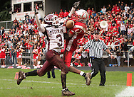 Xavier Mascareñas/The Journal News; Ossining's Keon Ervin breaks up a touchdown pass to Sleepy Hollow's Darien James during Sleepy Hollow's last drive in the fourth quarter during the football game at Sleepy Hollow High School on Oct. 1, 2011. Ossining beat Sleepy Hollow 25-20.