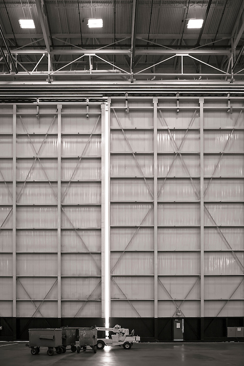 One of the massive hangar doors at Delta's  Technical Operations Center, at Atlanta's Hartsfield-Jackson International Airport.  Created by aviation photographer John Slemp of Aerographs Aviation Photography. Clients include Goodyear Aviation Tires, Phillips 66 Aviation Fuels, Smithsonian Air & Space magazine, and The Lindbergh Foundation.  Specialising in high end commercial aviation photography and the supply of aviation stock photography for commercial and marketing use.