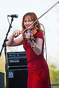 Amy Farris, the violinist for Dave Alvin and the Guilty Women performs at the Old Settler's Bluegrass Festival, Austin Texas, April 18, 2009.