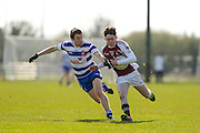 SFC at Trim, April 10th 2016.<br /> Navan O`Mahonys vs Moynalvey<br /> Daire Maguire (Navan 0`Mahonys) & David McLoughlin (Moynalvey)<br /> Photo: David Mullen /www.cyberimages.net / 2016