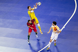 Paco Sedano of Spain and Tunha of Portugal during futsal match between Portugal and Spain in Final match of UEFA Futsal EURO 2018, on February 10, 2018 in Arena Stozice, Ljubljana, Slovenia. Photo by Urban Urbanc / Sportida