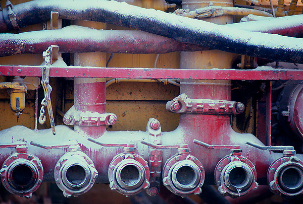 Stock photo of pump valves on a  'frac' truck.