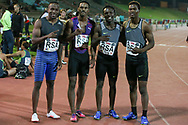JOHANNESBURG, SOUTH AFRICA - MARCH 22: Akani Simbine, Henricho Bruintjies, Clarence Munyai and Gift Leotlela after the mens 4x100m relay during the ASA Speed Series 4 at Germiston Stadium on March 22, 2017 in Johannesburg, South Africa. (Photo by Roger Sedres/ImageSA)