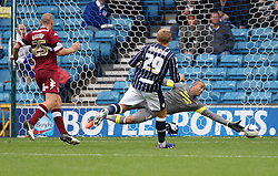 Millwall's Martyn Waghorn scores his first goal the club  - Photo mandatory by-line: Robin White/JMP - Tel: Mobile: 07966 386802 14/09/2013 - SPORT - FOOTBALL -  The Den - London - Millwall V Derby County - Sky Bet League Championship