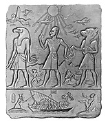 (An ancient Egyptian relief shows the arms dealing between Egypt, the Soviet Union and the United States and the expulsion of the British Military to Cyprus)