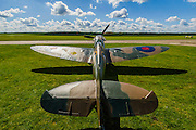 Vickers Supermarine Spitfire Mk.1A – P9374/G-MK1A – it was in action in the Battle of France in 1940 and recovered from the sands of a Calais beach in 1980. It was restored by the Aircraft Restoration Company, and will fly in the VE Day Anniversary Air Show (Saturday 23 and Sunday 24 May) at IWM Duxford. Christie's is to offer the Spitfire P9374 for auction in The Exceptional Sale on 9 July 2015.  The estimate for the sale is  £1,500,000-2,500,000. With the plane are John Romain, Pilot and Chief Engineer at the Aircraft Restoration Company and Ken Wilkinson, a veteran who flew Spitfires in the Second World War. IWM Duxford, Cambridge