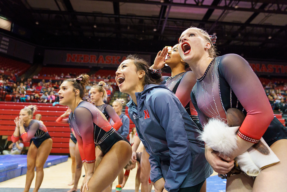 during Nebraska's meet against Michigan at the Bob Devaney Sports Center in Lincoln, Neb. on Saturday, Jan. 27, 2018. Photo by Aaron Babcock, Hail Varsity